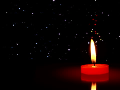 Christmas night candle stars - copy space, NTSC video