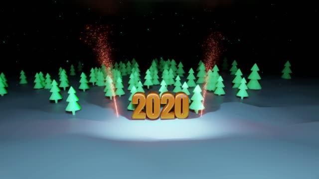 świąteczna kompozycja choinka las, w którym duże złote numery 2020 są podświetlane fajerwerkami w 4k. styl kreskówki nowego roku kompozycja z opadami śniegu 9 - technika ilustracji filmów i materiałów b-roll