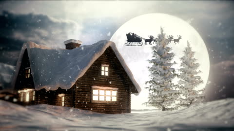 Christmas Night | Flying Santa Claus Winter landscape with Santa Claus | 4K 3840x2160 christmas stock videos & royalty-free footage