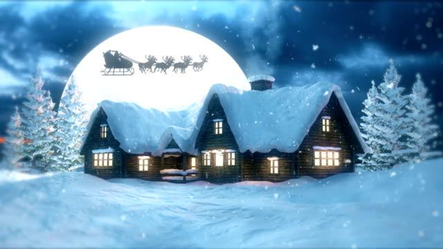 vídeos y material grabado en eventos de stock de noche de navidad con papá noel volador - aldea