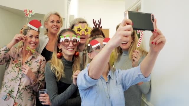 christmas office selfie - office party stock videos and b-roll footage