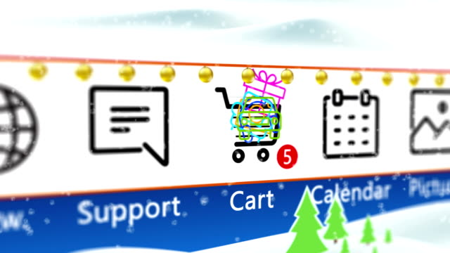Christmas online shopping with Christmas decorations and snowfall. Add Items to shopping cart icon on computer screen video loop.
