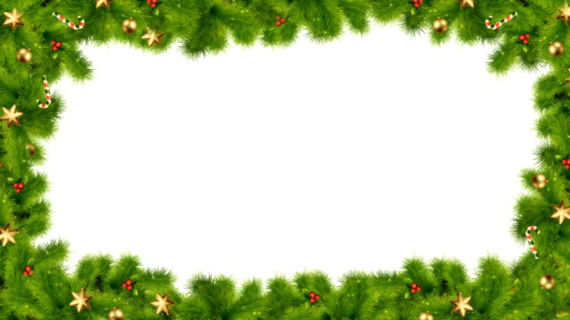 christmas or new year cascade frame with fir branches - cena di natale video stock e b–roll
