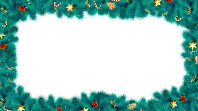weihnachten oder neujahr kaskadenrahmen mit tannenzweigen - girlande dekoration stock-videos und b-roll-filmmaterial