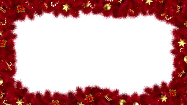 전나무 가지가있는 크리스마스 또는 새해 캐스케이드 프레임 - 가장자리 스톡 비디오 및 b-롤 화면