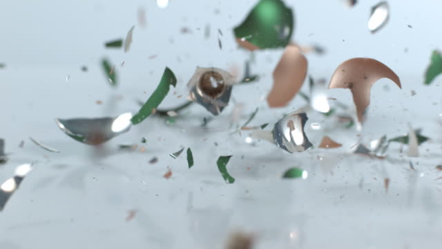 Christmas ornaments breaking in slow motion video