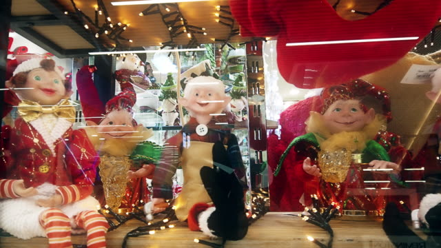 Christmas ornaments, decoration in toy store display window