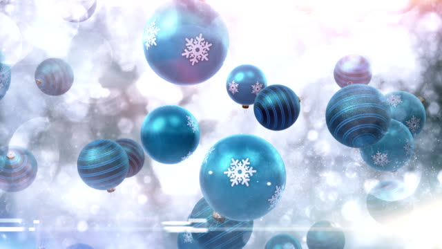 Christmas ornaments falling (blue) - Loop