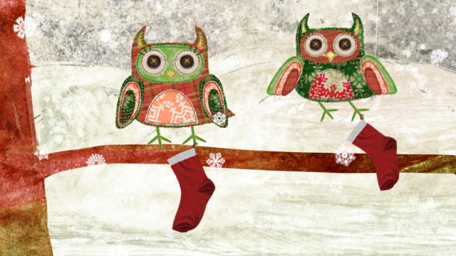 Christmas owls waiting for Santa. Two embroidered owls with button eyes are waiting with their Christmas stockings for Santa to come. Did they just see him in the sky? owl stock videos & royalty-free footage