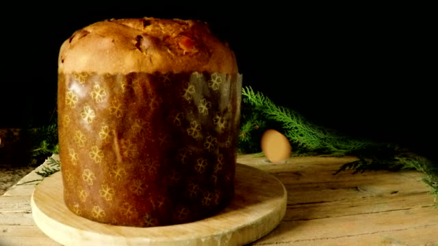 christmas panettone with fireworks - panettone video stock e b–roll