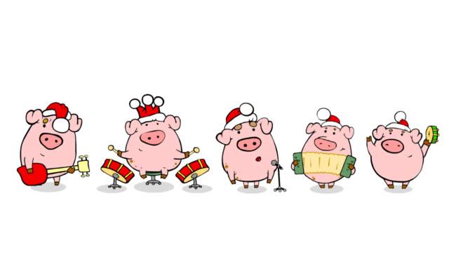 Christmas perfomance from nice cartoon pigs video