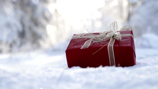 Christmas Present Outdoors Snow Falling Background video