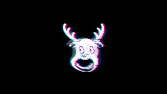 christmas reindeer xmas deer symbol on glitch retro vintage animation. - christmas background стоковые видео и кадры b-roll