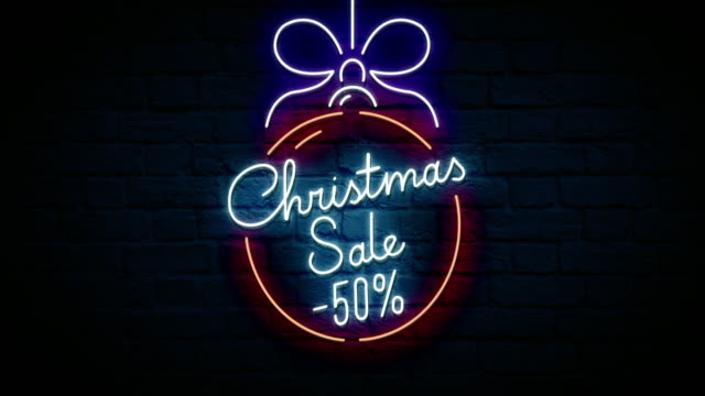 christmas sale neon sign - treedeo christmas stock videos & royalty-free footage