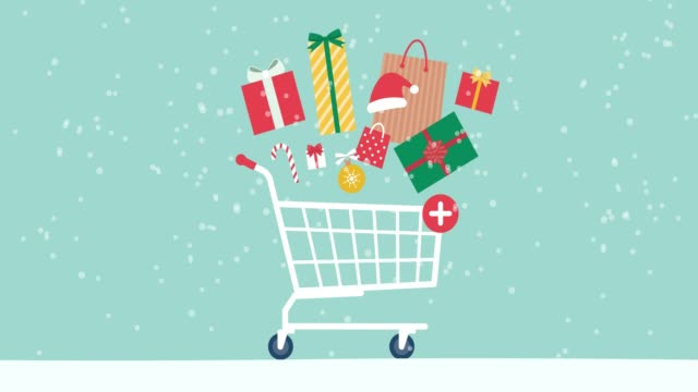 Christmas sale promo with gifts and shopping cart