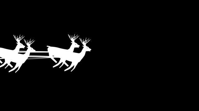 Christmas Santa Claus flying in his sleigh with Christmas gifts pulled by his reindeer, flies through the screen.. Silhouette Animation, Looping (Seamless). White on black background. video