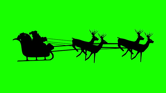 Christmas Santa Claus flying in his sleigh with Christmas gifts pulled by his reindeer. Tiny figure. Silhouette Animation, Looping. Green screen video optimized for keying. video