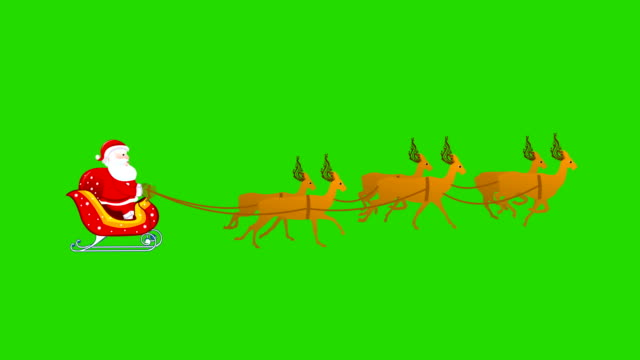 Christmas Santa sleigh reindeer Animation video
