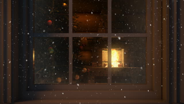 Christmas Scene Behind the Window  4K | Loopable video