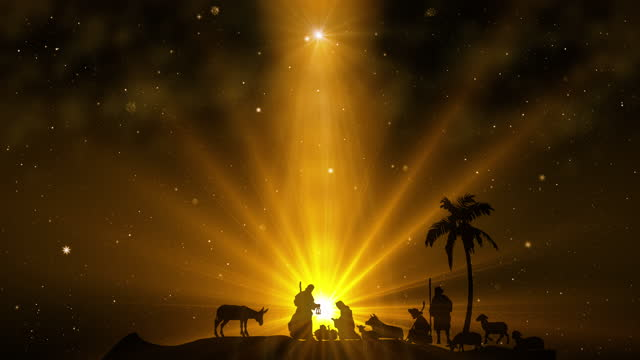 Christmas Scene with twinkling stars on golden