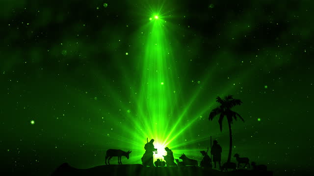 Christmas Scene with twinkling stars on green