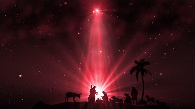 vídeos de stock e filmes b-roll de christmas scene with twinkling stars on red - reis magos