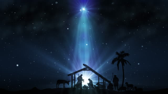 Christmas Scene with twinkling stars Christmas Scene with twinkling stars and brighter star of Bethlehem with sparkling nativity characters. Seamless Loop with Nativity Christmas story with twinkling stars, and moving wispy clouds. religion stock videos & royalty-free footage