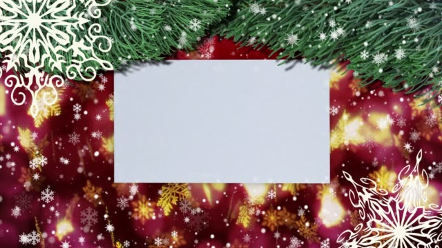 vídeos de stock e filmes b-roll de christmas seamless loopable background with fir branches, snowflakes. top view with letter and copy space - wish