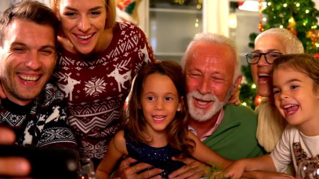 Christmas selfi Happy family celebrates Christmas christmas family stock videos & royalty-free footage