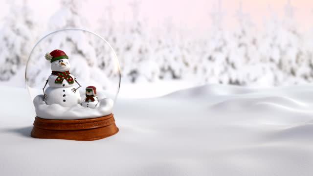Schneekugel Weihnachten 4K Animation mit Vater und Sohn Schneemann – Video