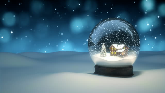 vídeos de stock e filmes b-roll de christmas snow globe - 4k | loopable - feriado