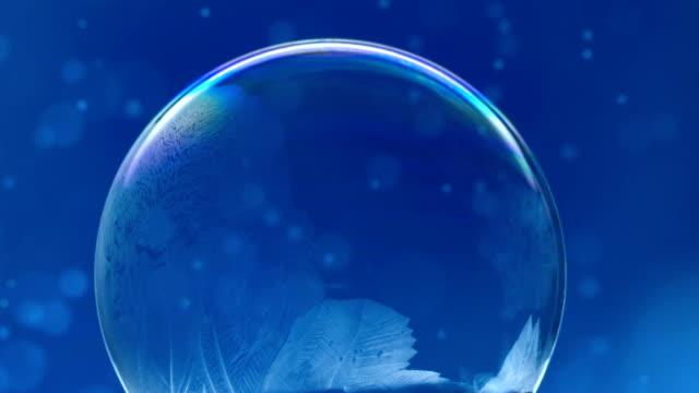 Christmas Snow Globe Snowflake on Blue Animation Background video