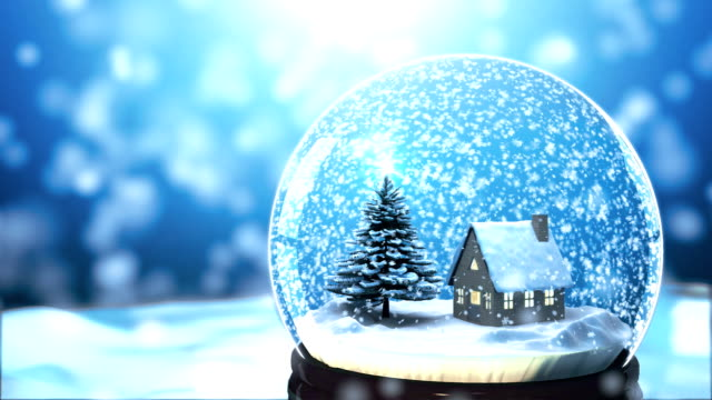 Christmas Snow globe Snowflake with Snowfall on Blue Background Christmas Background by Christmas tree and house in Snow globe Snowflake with Snowfall scene on Blue Background holiday stock videos & royalty-free footage