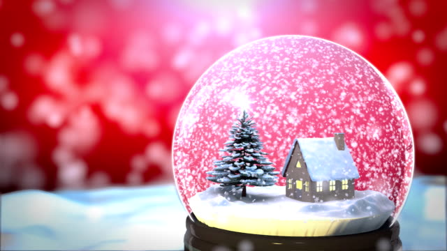 Christmas Snow globe Snowflake with Snowfall on Red Background video