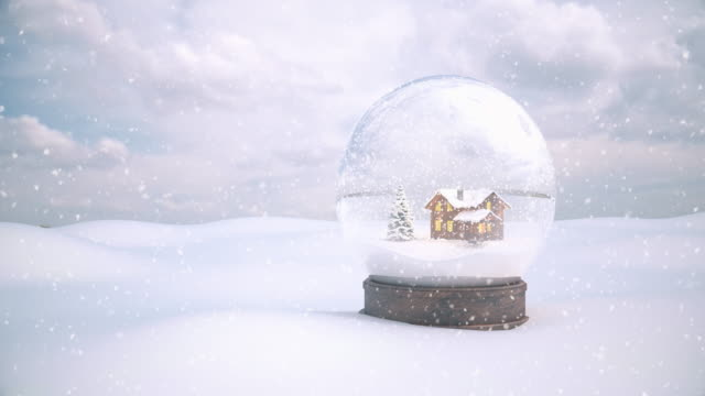 Christmas Snow Globe with Snow Background - 4K | Loopable video