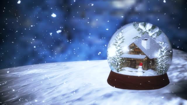 christmas snow globe med snöfall 3d - snöflinga bildbanksvideor och videomaterial från bakom kulisserna
