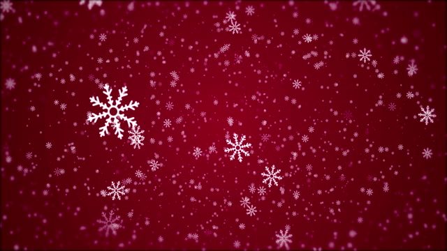 4K Christmas - Snowflake Animation, Red Background