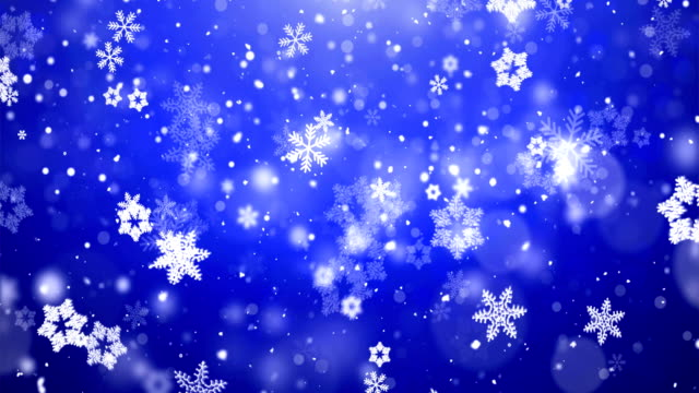 christmas snowflakes falling on dark blue background. - snowflake background stock videos & royalty-free footage