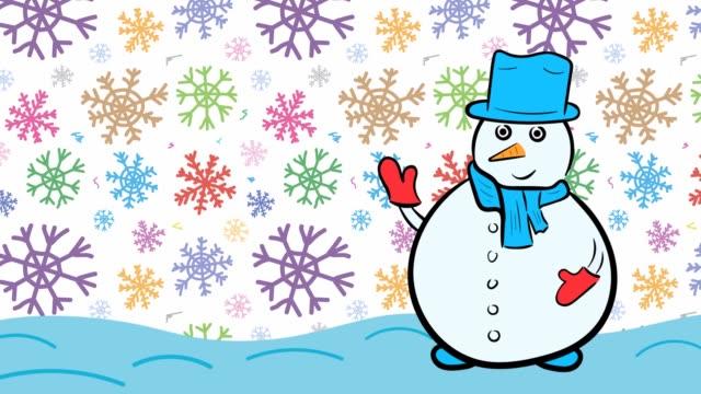 Christmas snowman and color snow
