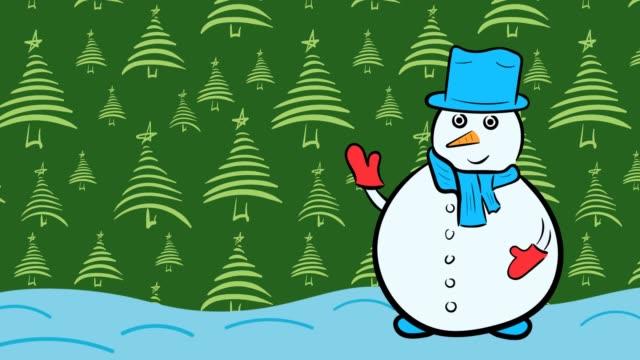 Christmas snowman and green fir-trees