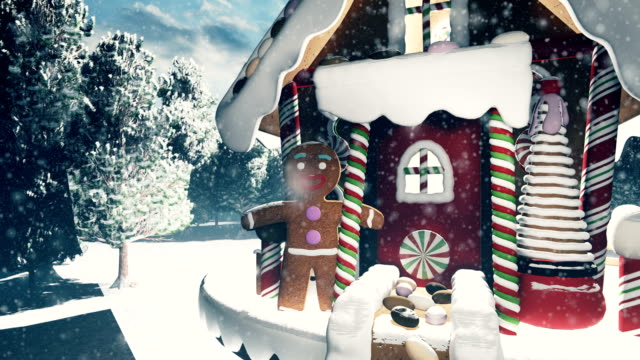 Christmas snowman in a snowy enchanted forest and a gingerbread man in the fairy house. Christmas and New year 3D rendering. Christmas snowman in a snowy enchanted forest and a gingerbread man in the fairy house. Christmas and New year 3D rendering. Produced in 4K. gingerbread man stock videos & royalty-free footage