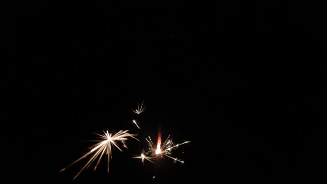 Christmas sparkler burning on a black background video