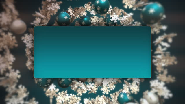 vídeos de stock e filmes b-roll de christmas spiral with blue and white baubles and snowflakes. - christmas card