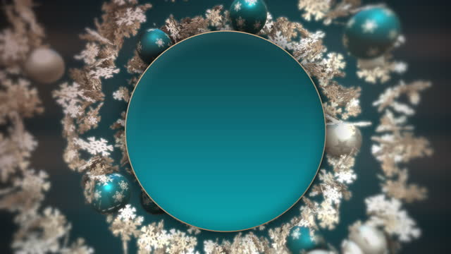 Christmas spiral with blue and white baubles and snowflakes.