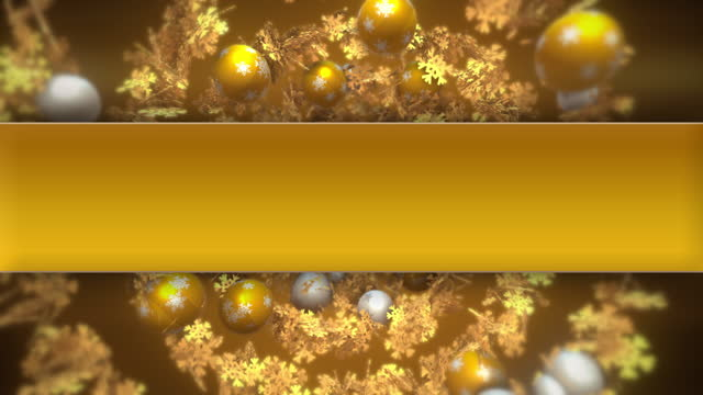 Christmas spiral with gold and white baubles and golden snowflakes.