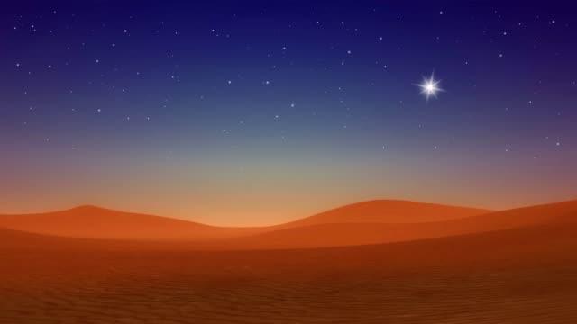 Christmas star over Bethlehem hills desert at evening