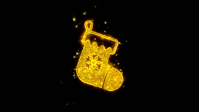 Christmas Stocking Sock Icon Sparks Particles on Black Background. Christmas Stocking Sock Icon Sparks Glitter Particles on Black Background. Shape, Design, Text, Element, Symbol Alpha Channel 4K Loop. christmas stocking stock videos & royalty-free footage