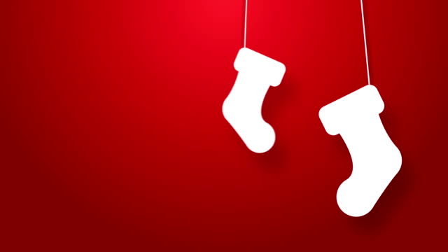 Christmas stockings bouncing on a string animation. White christmas stockings bounces on a string. christmas stocking stock videos & royalty-free footage