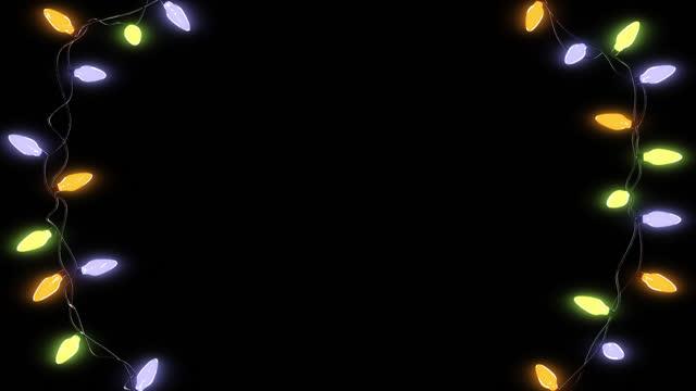 noel yaylı ışıklar alfa kanal arka plan animasyon görüntüleri .renkli lambalar, yeni yıl tasarımı için ışık gösterisi, şeffaf. - christmas lights stok videoları ve detay görüntü çekimi