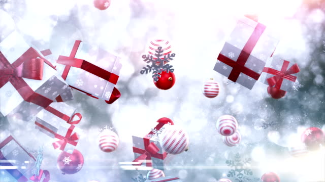 christmas symbols falling (silver/red) - loop - christmas background bildbanksvideor och videomaterial från bakom kulisserna